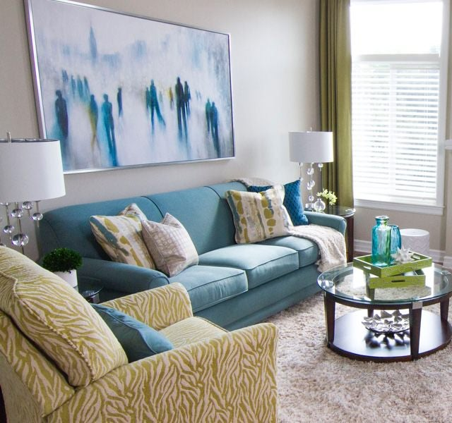 Room scene with mixed prints and blues
