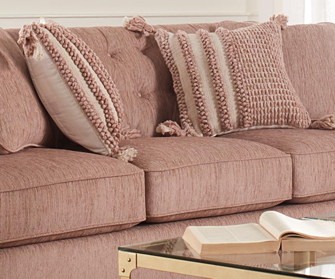 Closeup of Alexandria Sofa and accessories