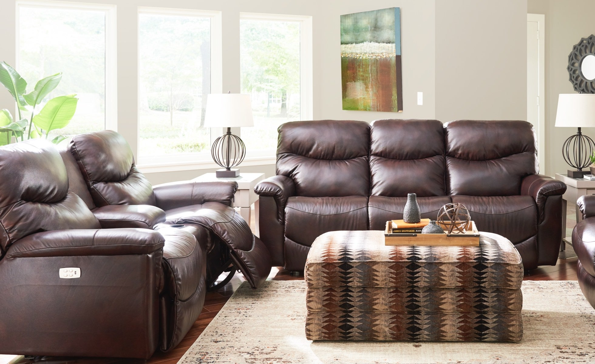 Room scene with James Power Reclining Sofa and Loveseat