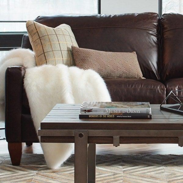 Aniline Leather on Studio Stationary Sofa