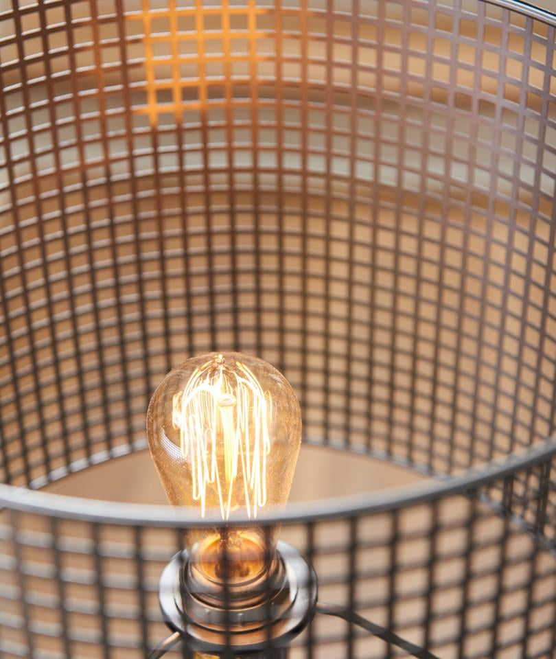 Closeup of Bracken Adjustable Table Lamp with Edison style bulb