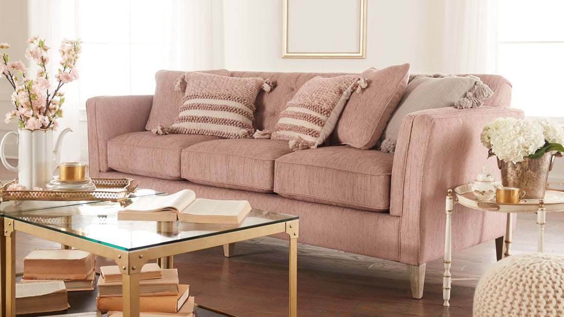 Editoral shot of Courtney's sofa in her completed Design Dash room