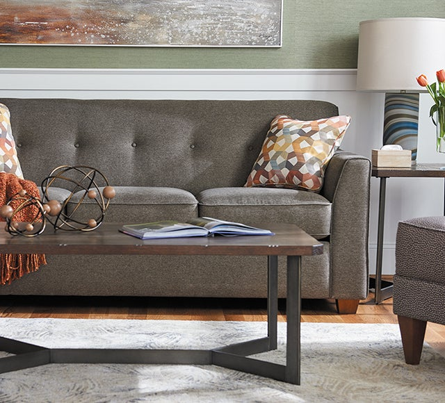 Living room scene with Dixie Sofa with custom cover and pillows