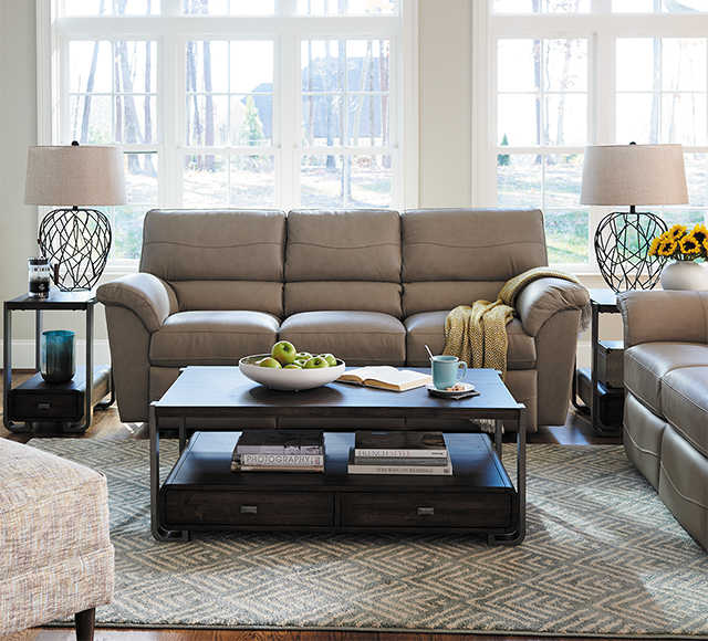 Living room scene with Meyer Sofa and Gypsy Ottoman with custom leather covers