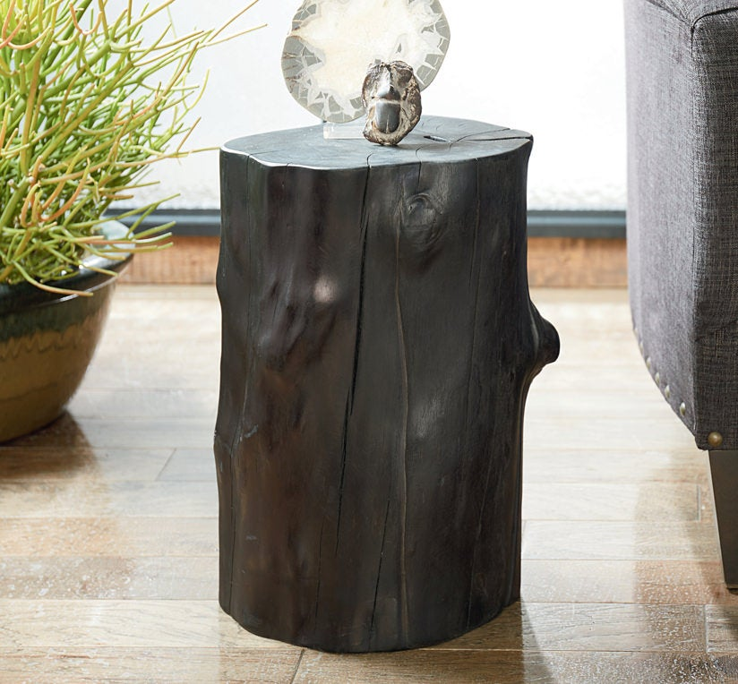 Charred Tree Trunk Accent Table