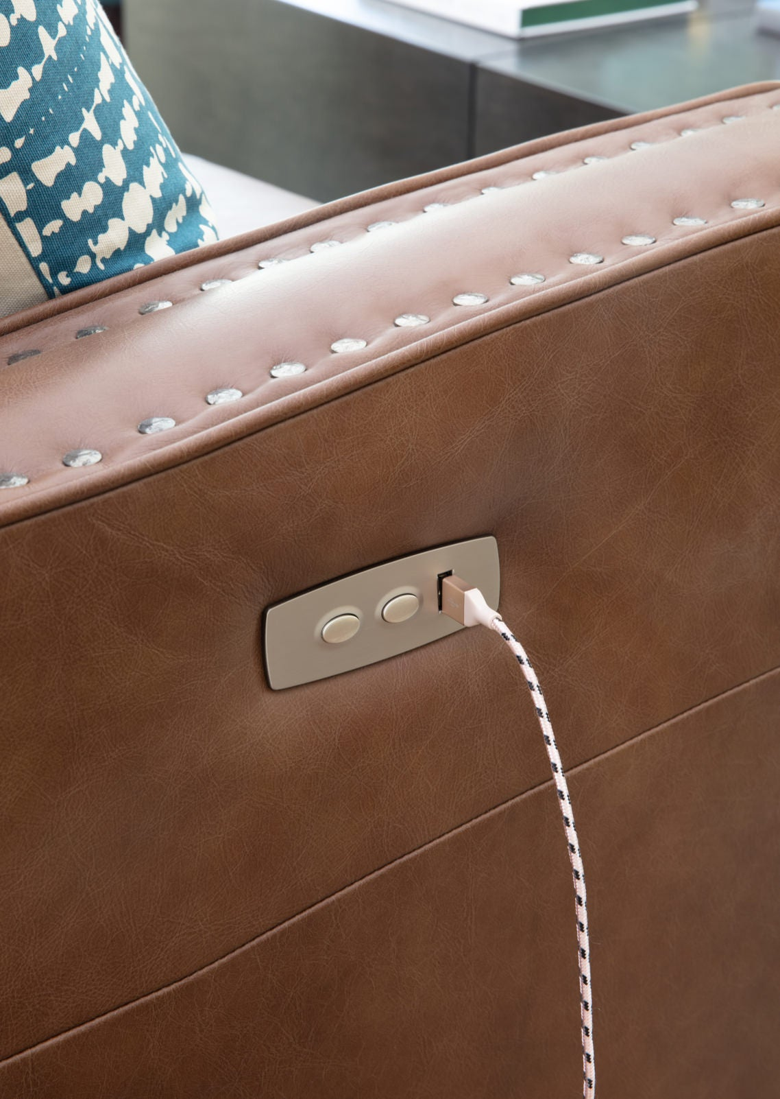 Closeup of USB port on Makenna duo® Reclining Sofa