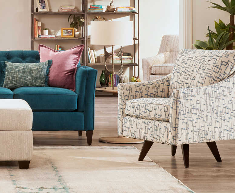 Living room with Bexley Sofa, Marietta Chair, and Logan Circle Ottoman