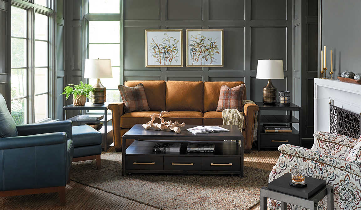 Living room with McKinney Sofa, Logan Square Ottomans and Chandler High Leg Reclining Chair