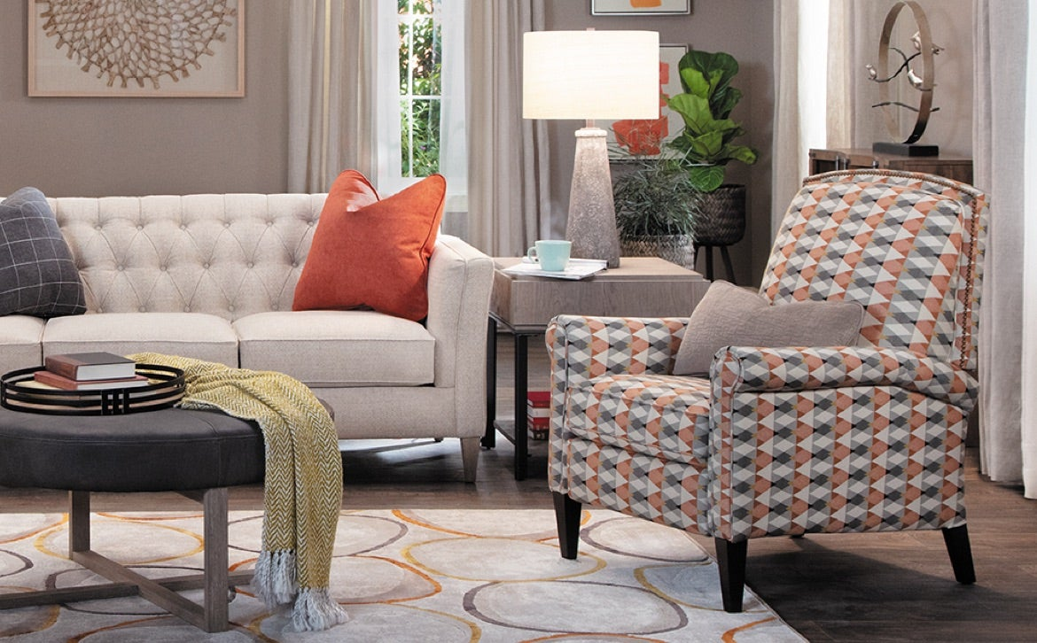 Living room with Alexandria Sofa, Logan Circle Ottomans and Chandler High Leg Reclining Chair