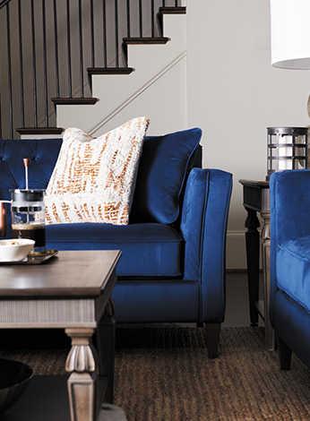 Living room with Bexley Sofa and Logan Circle Ottoman