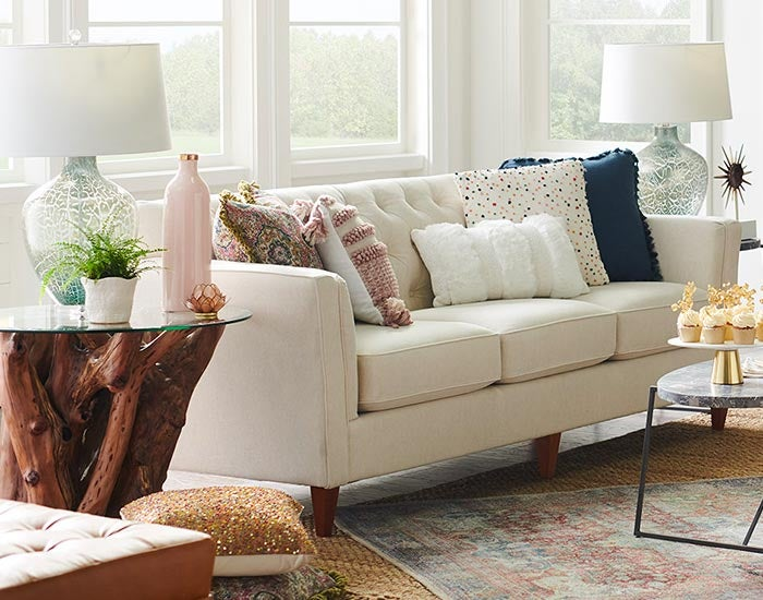 Living room with Alexandria Sofa and accessories