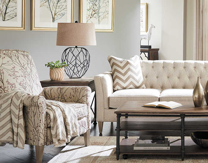 Living room with McKinney Sofa and accessories