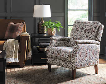 Living room with Alexandria Sofa, Logan Circle Ottoman and Cambridge Press Back Reclining Chair