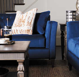 Living room with Bexley Sofa and Logan Circle Ottoman