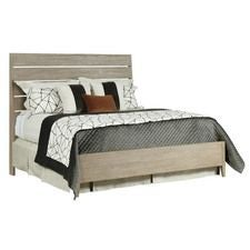Symmetry Incline Queen Oak High Bed W/Storage Rails