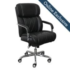 Sutherland Quilted Leather Office Chair, Jet Black