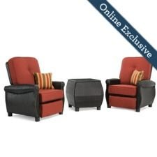 Breckenridge 3pc Patio Furniture Set w/ Brick Red Cushion