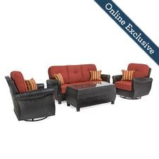 Breckenridge 4 Piece Patio Furniture Set, Brick Rojo