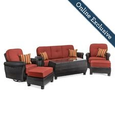 Breckenridge 6 Piece Patio Furniture Seating Set, Brick Rojo