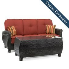 Breckenridge Outdoor Sofa with Pillows and Coffee Table Set, Brick Rojo