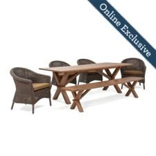 Cumberland 6pc Dining w/ Dark Tan Cushion