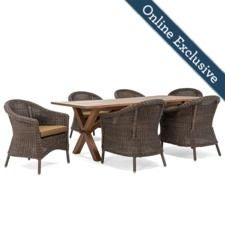 Cumberland 7pc Dining w/ Dark Tan Cushion