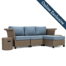 Nolin 3pc Sectional Plus 1 Side Table and 1 Ottoman  w/ Blue Cushion