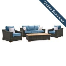 New Boston 4pc Wicker Patio Conversation Set w/ Blue Cushion