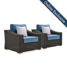 New Boston Wicker Patio Lounge Chairs w/ Blue Cushion