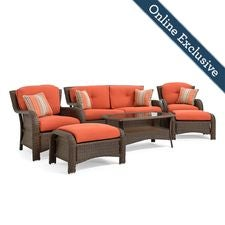 Sawyer 6 Piece Resin Wicker Patio Furniture Conversation Set, Grenadine Orange