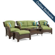 Sawyer 6pc Resin Wicker Patio Furniture Conversation Set, w/ Cilantro Green Cushion
