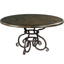 60IN Round Dining Table W/ Metal Base - Black Forest