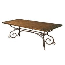 94IN Rectangular Dining Table W/ Metal Base - Tobacco