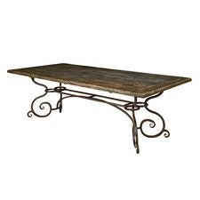 94IN Rectangular Dining Table W/ Metal Base - Black Forest