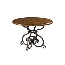 44IN ROUND DINING TABLE W/METAL BASE-TOBACCO