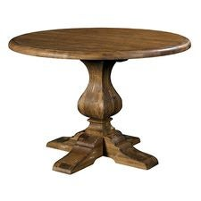 44IN Round Dining Table W/ Wood Base - Tobacco