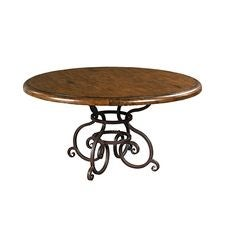 60IN Round Dining Table W/ Metal Base - Tobacco