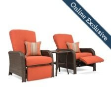 Sawyer Patio Recliner Set, Grenadine Orange