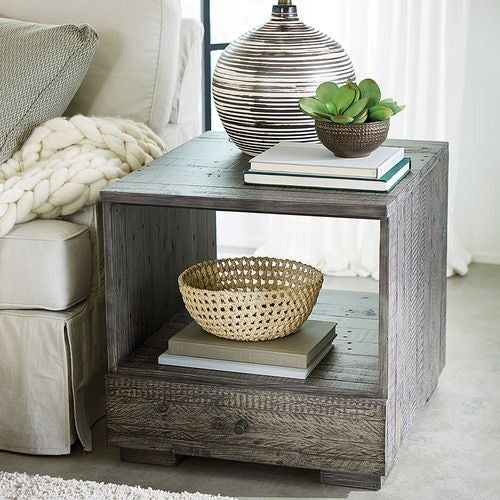 Reclamation Place-Shiplap Rectangular Drawer End Table