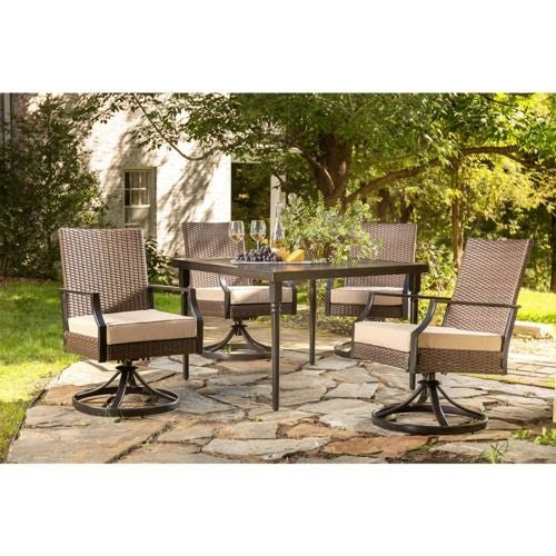 Addyson 5pc Cushioned Dining (Square table and 4 swivel)