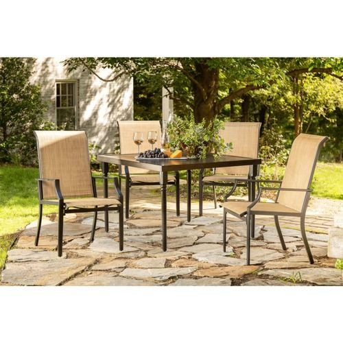 Addyson 5pc Sling Dining (Square table and 4 stationary)