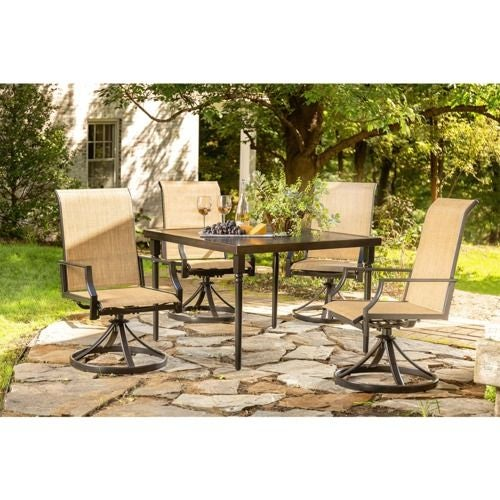 Addyson 5pc Sling Dining (Square table and 4 swivel)