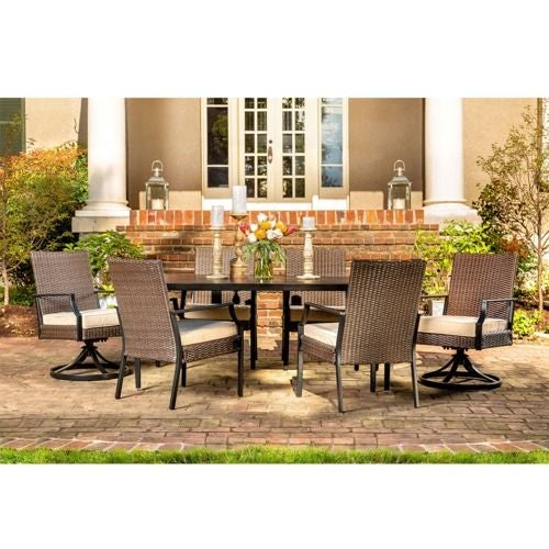Addyson 7pc Cushioned Dining (rect table, 4 stationary, 2 swivel)