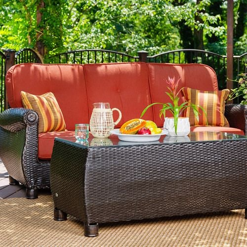Breckenridge Outdoor Sofa with Pillows and Coffee Table Set (Brick Rouge)