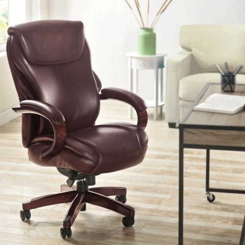 La-Z-boy Hyland Executive Office Chair with AIR Technology in Chestnut Marrón Bonded Leather