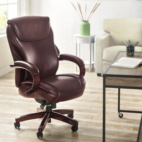 La-Z-Boy Hyland Executive Office Chair with AIR Technology in Chestnut Brown Bonded Leather
