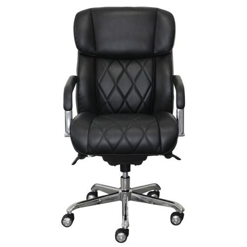 La-Z-Boy Sutherland Quilted Leather Office Chair with Padded Arms, Jet Black
