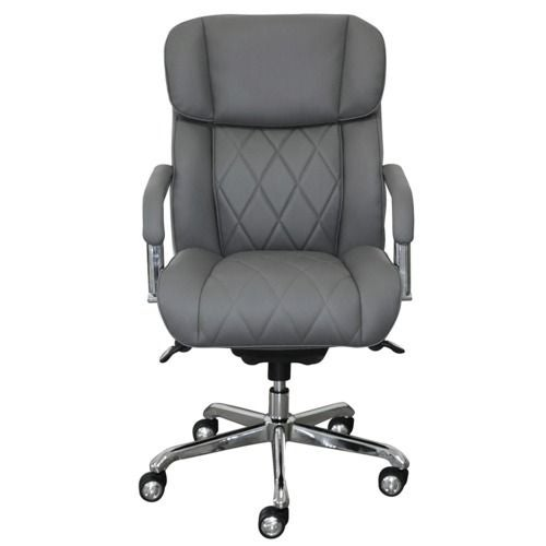 La-Z-Boy Sutherland Quilted Leather Office Chair with Padded Arms, Moon Rock Gray