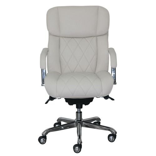 La-Z-boy Sutherland Quilted Leather Office Chair with Padded Arms, Light Ivory