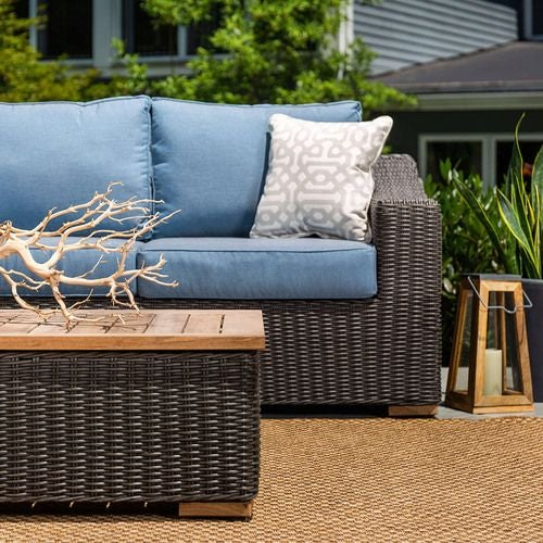 New Boston 2 Piece Wicker Patio Conversation Set: Sofa and Coffee Table (Denim Blue)